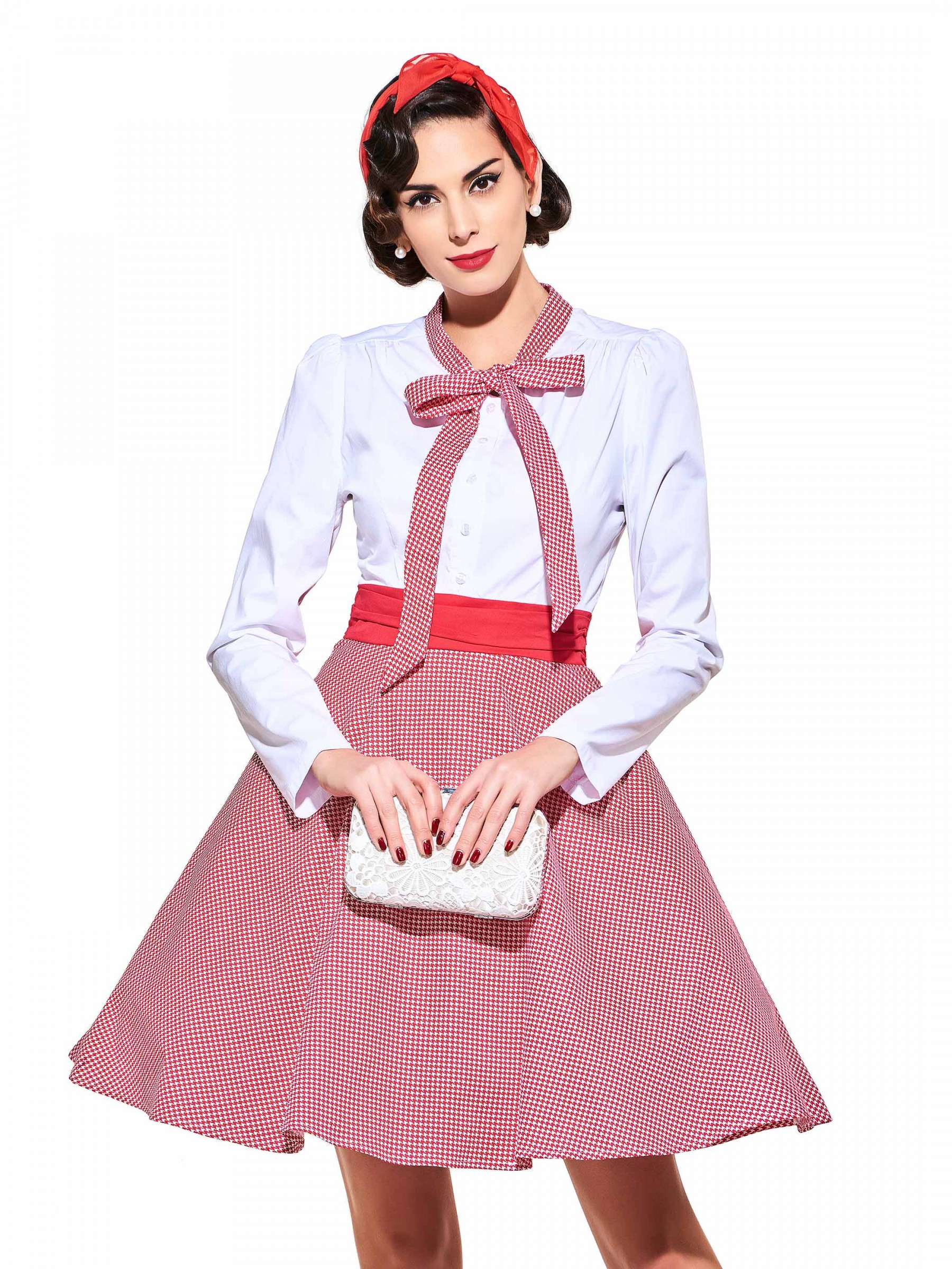 043421d4157 -63% Bowknot Full Sleeves Grid Tunic Vestido Rockabilly Pleated Bow 60S Audrey  Hepburn Dresses 2017 Vintage Cocktail ...