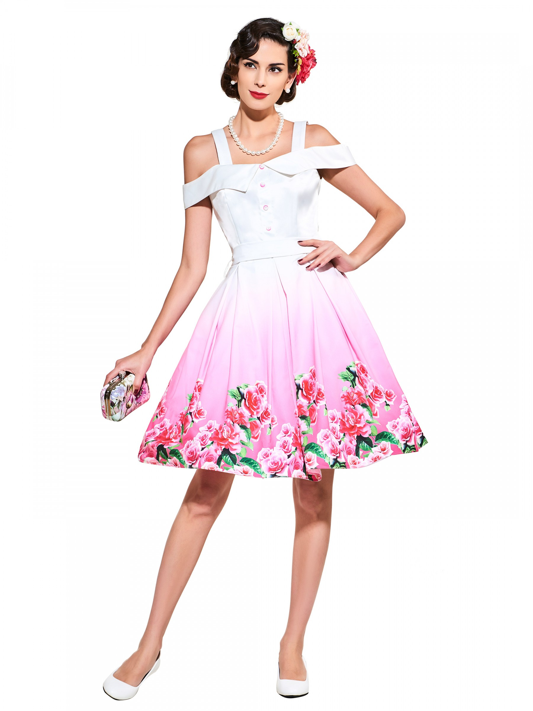 1950s Vintage Dresses Plus Size Party Dresses White Floral