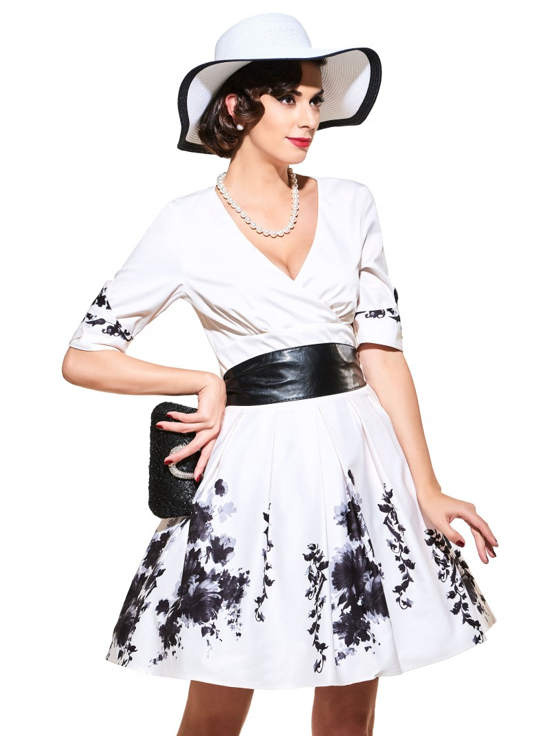 Women Retro Dresses Spring Summer Women Clothes White Floral Print Cocktail Dresses Plus Size
