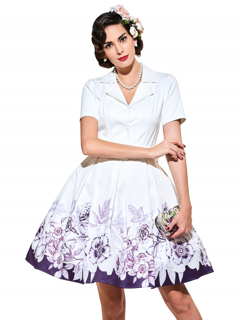 Audrey Hepburn Style Women Dresses 2017 White Floral Print Short Sleeves Retro Dresses
