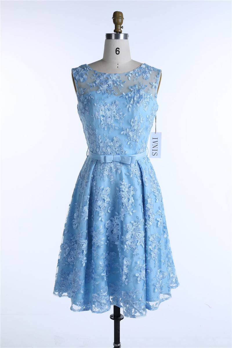 Blue Lace Summer Spring Dresses 2017 Bow Female Dress Plus ...