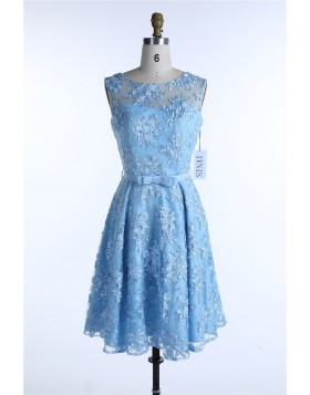 Blue Lace Summer Spring Dresses 2017 Bow Female Dress Plus Size 50s Dresses See-Through Elegant 60s Cocktail Dresses