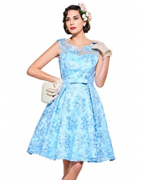 Blue Women Prom Dresses Lace Retro Dresses Plus Size V-Neck 50s 60s Cocktail Dresses