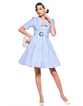 Cocktail Dresses 2017 Rockabilly Light Blue Dot Summer Female Vestido Half Sleeves Pinup 50s 60s Retro Dress Plus Size