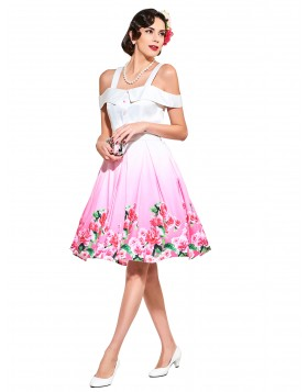 1950s Vintage Dresses Plus Size Party Dresses White Floral Print 60s Cocktail Dresses Spring Summer Female Dresses