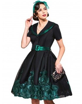 Black Print Floral Summer Women Dresses 2017 1950s Style Appliques Elegant Plus Size Cocktail Dresses