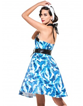 Halter Sleeveless Cocktail Dresses Blue Floral Print 2017 Cocktail Dresses Backless Women Summer Dress