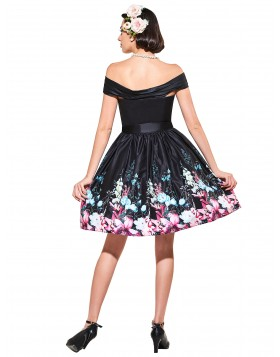 Black Floral Print Feminino Vestidos Elegant Pleated Audrey Hepburn Dresses Pinup Vestidos Cocktail Dresses Waist Dress