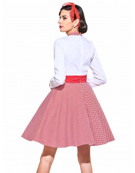 Bowknot Full Sleeves Grid Tunic Vestido Rockabilly Pleated Bow 60S Audrey Hepburn Dresses 2017 Vintage Cocktail Dresses